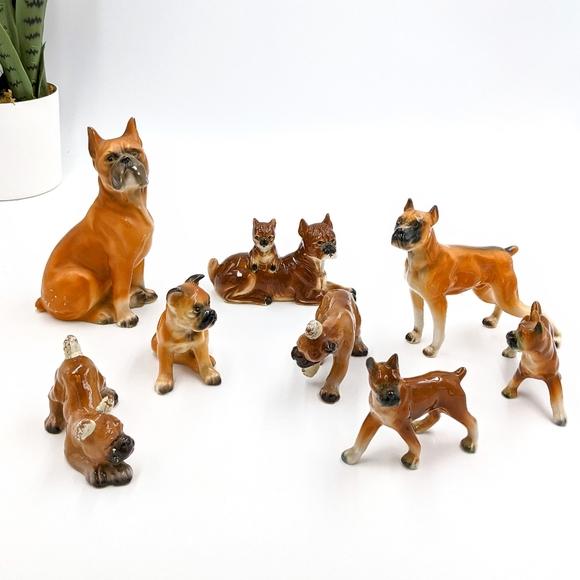 Vintage Ceramic Boxer Dogs Figurine Lot